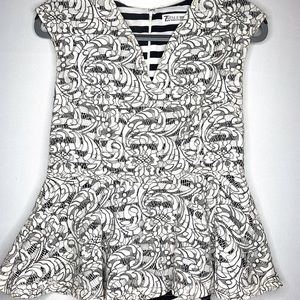 Peplum Top - Black and White Striped/Lace Overlay